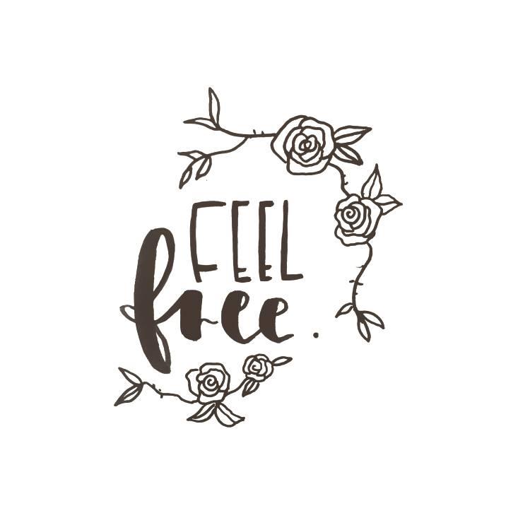 feel free - Handlettering mit Rosen
