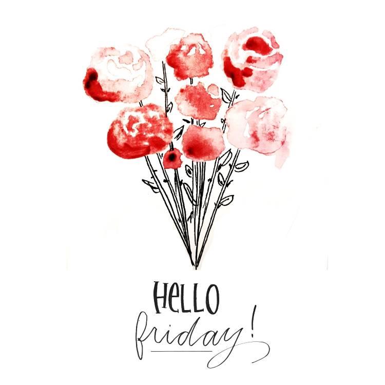 hello friday - Handlettering mit einem Bund Aquarellrosen
