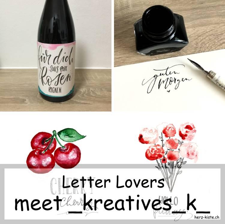 Verschiedene Letterings und Bilder von _kreatives_k_ für die Letter Lovers im Interview