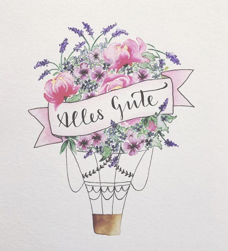 alles gute - Handlettering in einem Banner auf einem Blumenstrauss Ballon