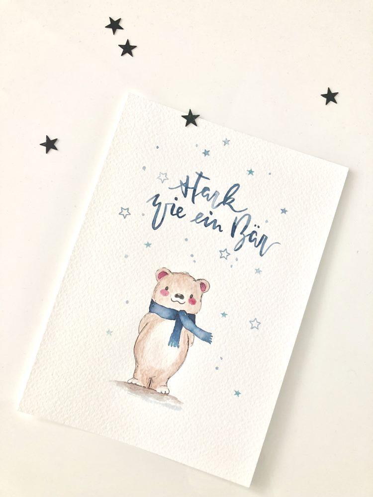 Handlettering mit Watercolor Bär: stark wie ein Bär