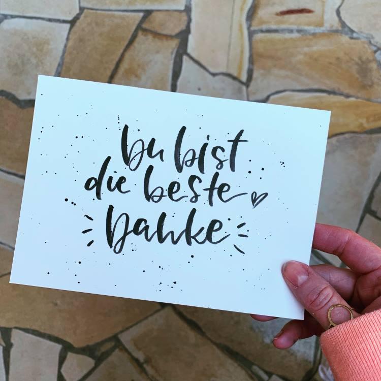 Handlettering Karte: Du bist die Beste Danke