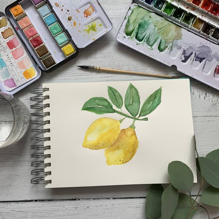 Aquarellbild Zitronen