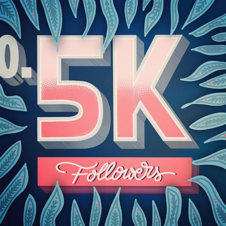 0.5k followers - digitales Lettering