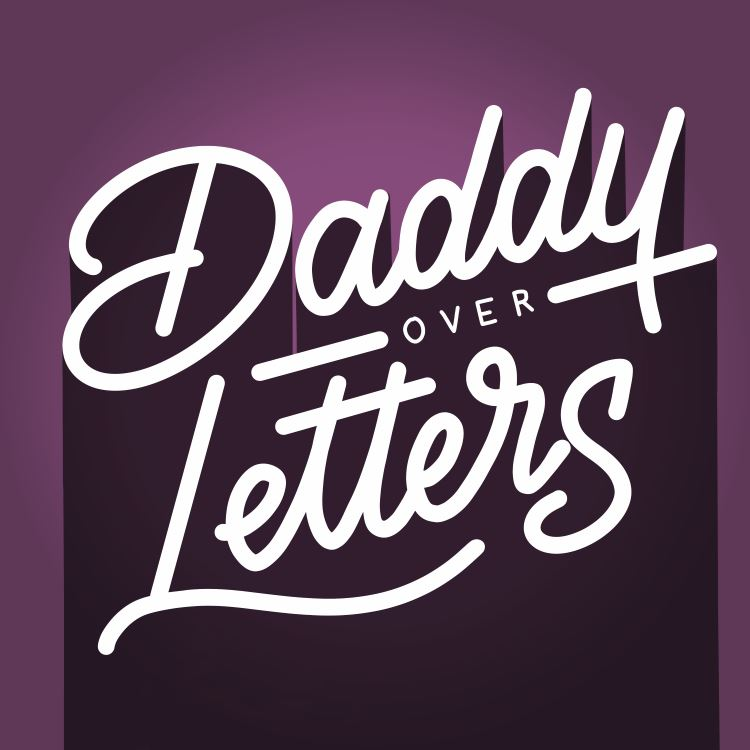 digitales Lettering: daddy over letters