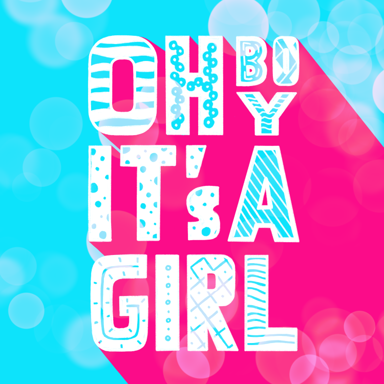 digitales Lettering: oh boy it's a girl