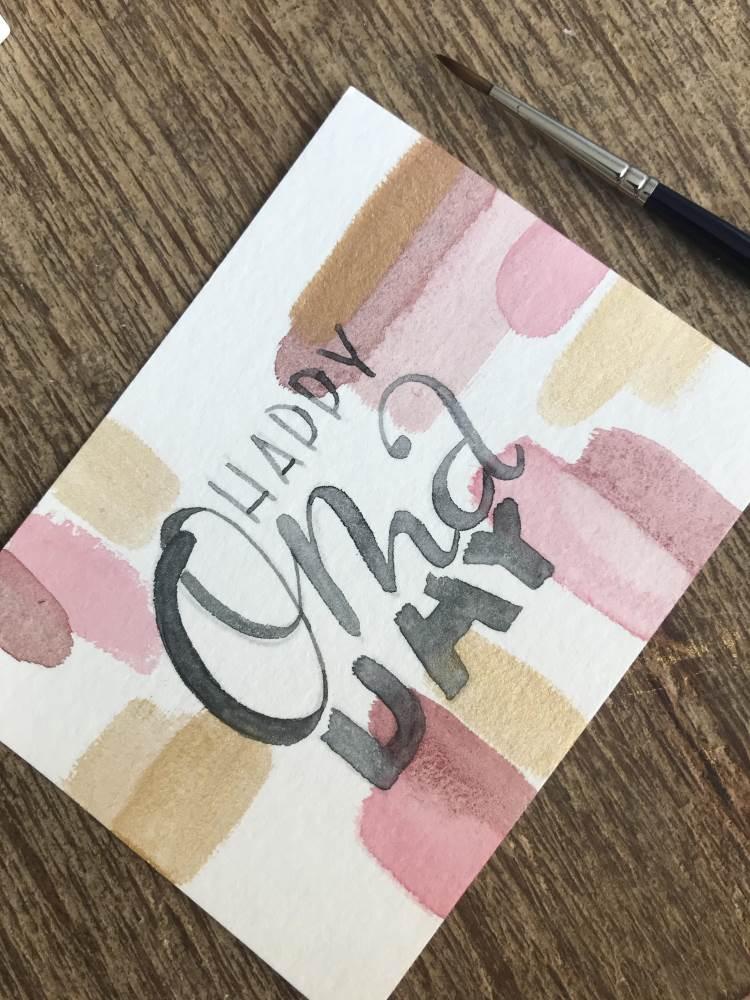 Happy Oma Day - eine Watercolor Geburtstagskarte mit Handlettering