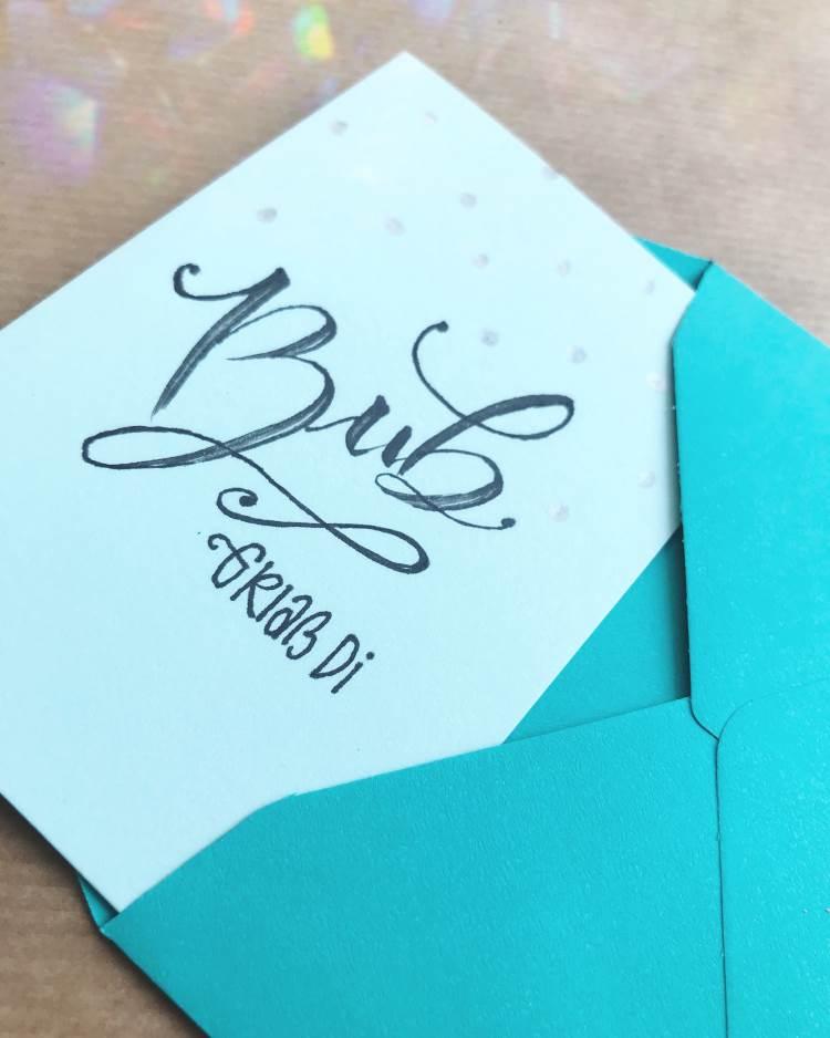 Bub - griass di - Handlettering Karte