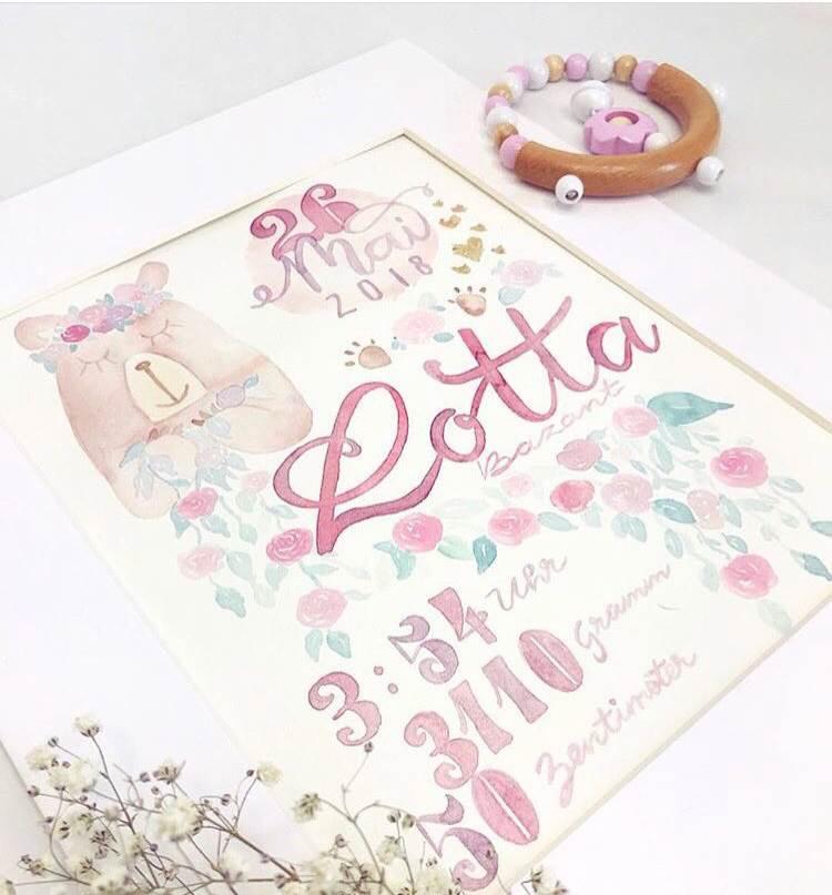 Lotta - Geburtsanzeige mit Watercolor Elementen und Handlettering