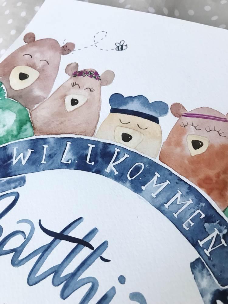 Willkommen - Geburtsanzeige für ein Baby mit Watercolor Bären