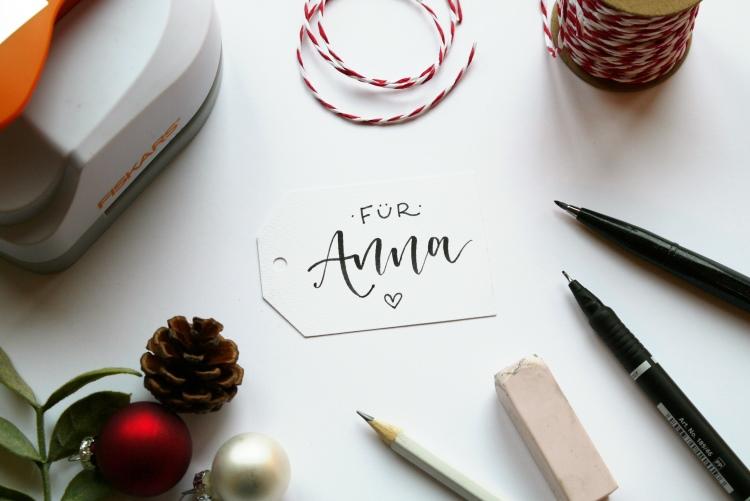 für Anna - Geschenkanhänger mit Handlettering