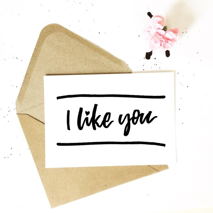 Karte mit Handlettering und Briefumschlag: I like you