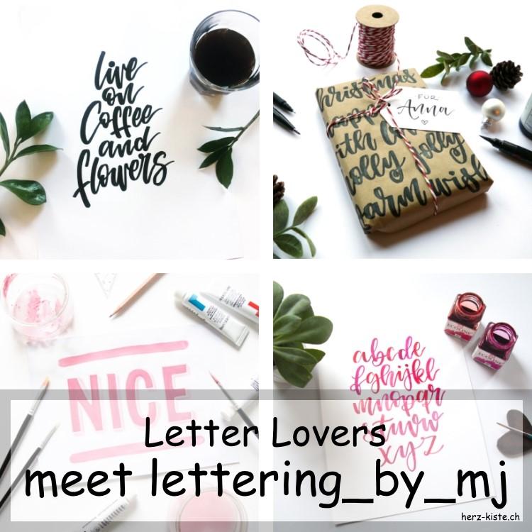 Collage von mehreren Letterings von lettering_by_mj als Titelbild für ein Lettering Interview