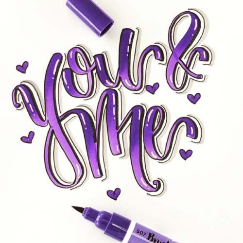 you and me - violettes Handlettering mit Effekt