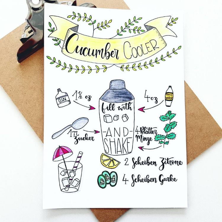 Handlettering Rezept Cucumber cooler