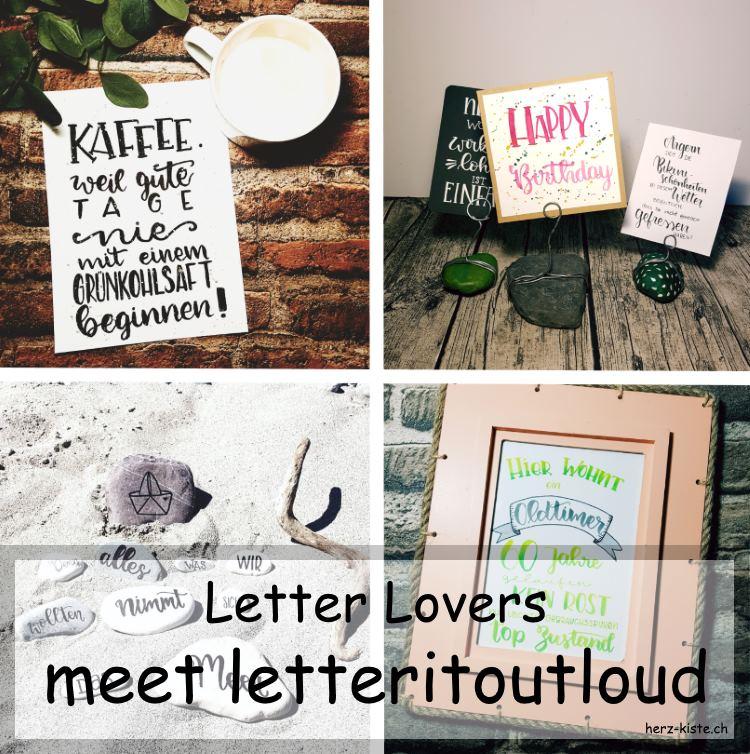 Zusammenstellung von verschiedenen Letterings von letteritoutloud als Titelbild für ein Interview übers Handlettering