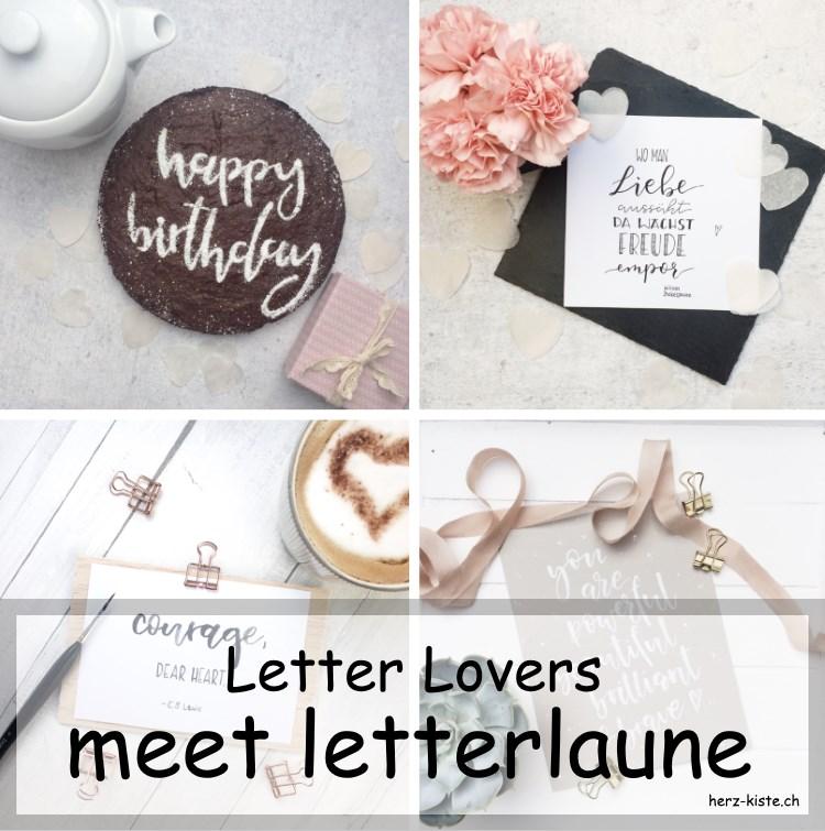 Collage von Handlettering Bildern von letterlaune - Titelbild für das Lettering Interview mit letterlaune