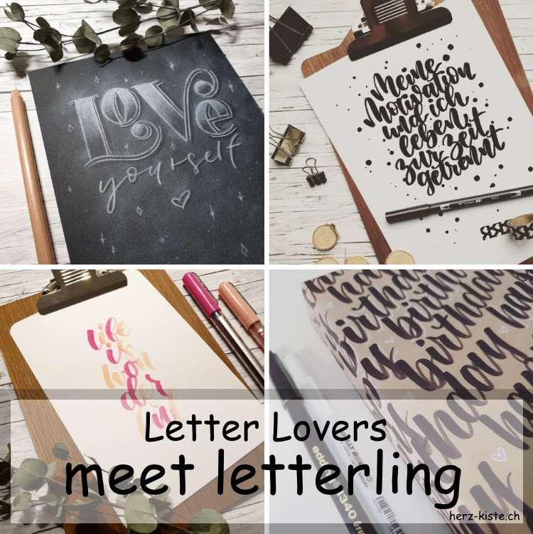Letter Lovers - letterling zu Gast im Lettering Interview mit verschiedenen Handletterings und einer Anleitung für ein Chalklettering auf Papier - Titelbild