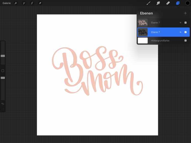 Ebenen-Ansicht im Procreate für ein digitales 3D Lettering