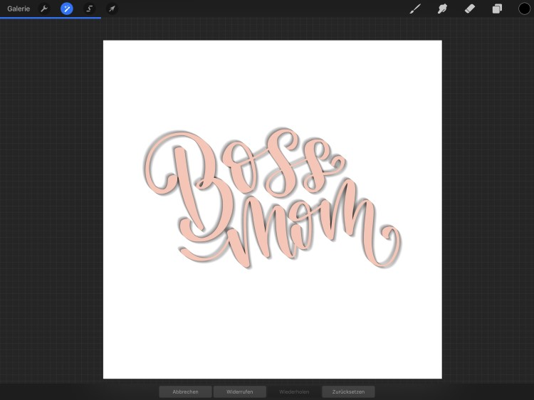 boss mom Lettering - so erstellst du dein eigenes 3D-Lettering mit Procreate