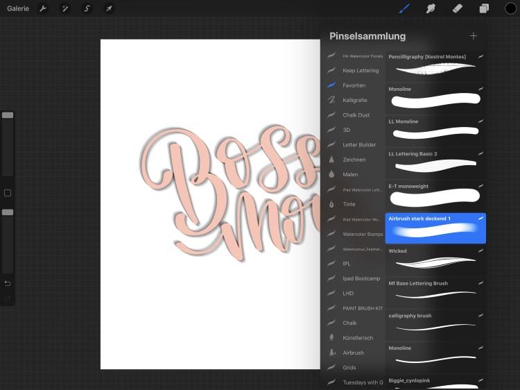 Ansicht Procreate Pinsel für ein digitales Lettering mit 3D-Effekt