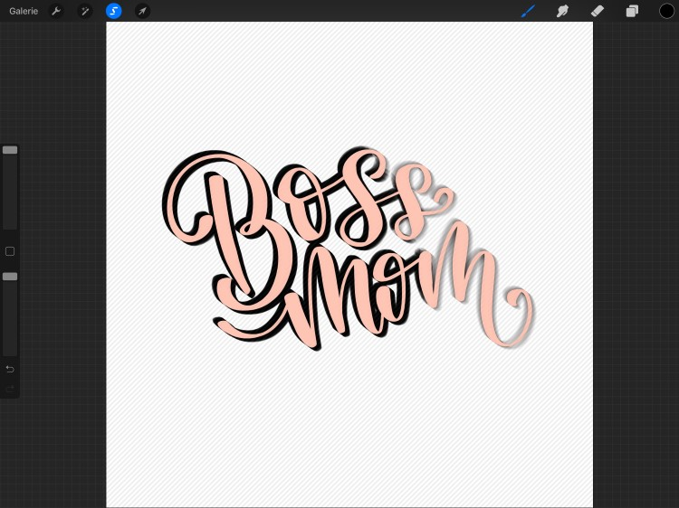so erstellst du dein digitales Lettering mit 3D-Effekt - Beispiel Boss mom