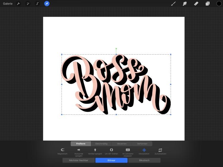 Schritt für Schritt Anleitung für ein digitales 3D Lettering - Boss Mom