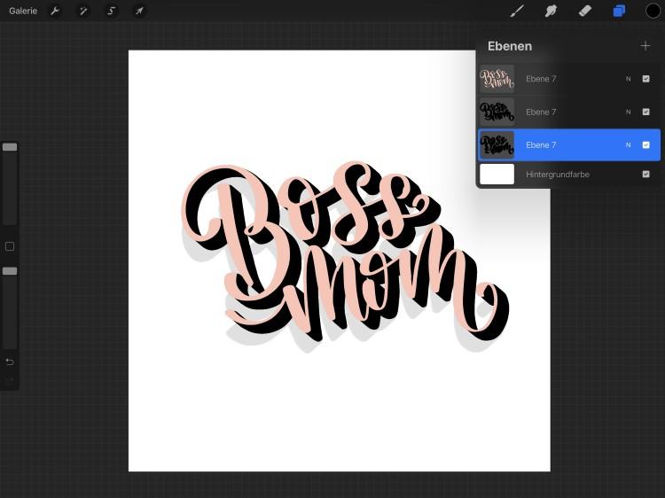 Boss Mom - digitales 3D-Lettering Anleitung