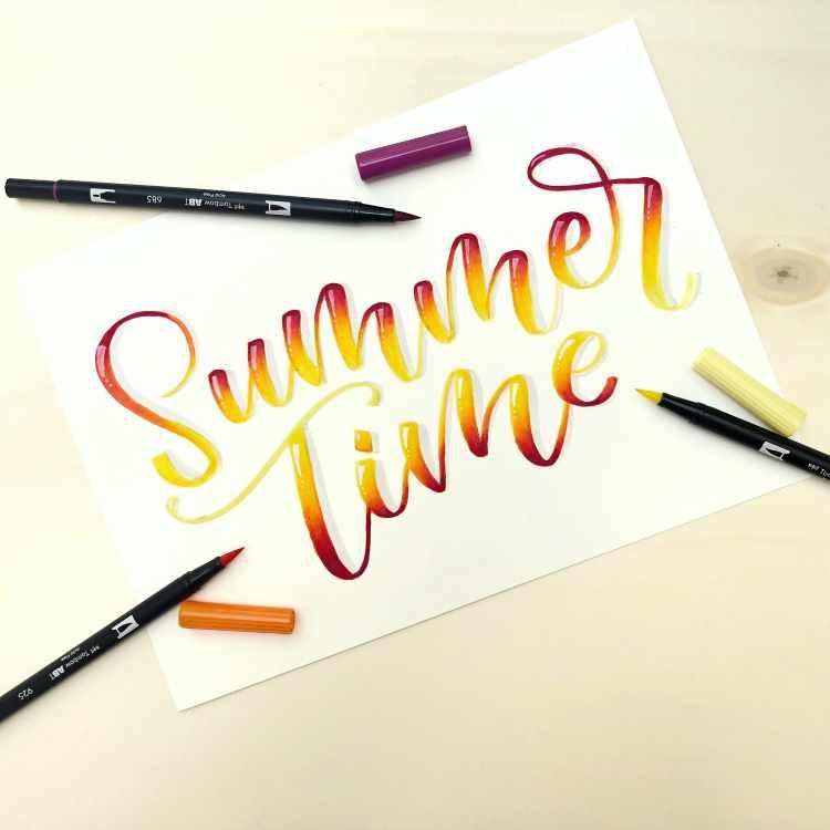 Lettering mit Blending Effekt: Summer Time