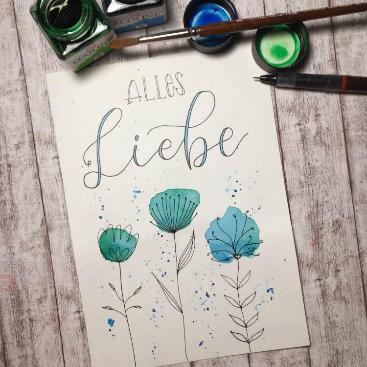 Alles Liebe - Lettering mit Aquarellblumen