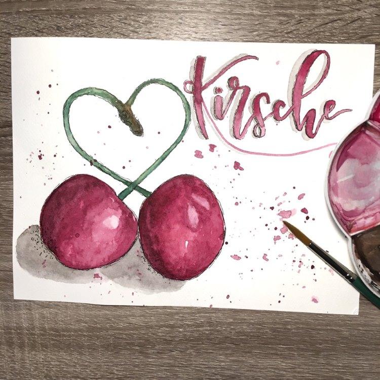 Kirsche - Handlettering mit Aquarellkirschen