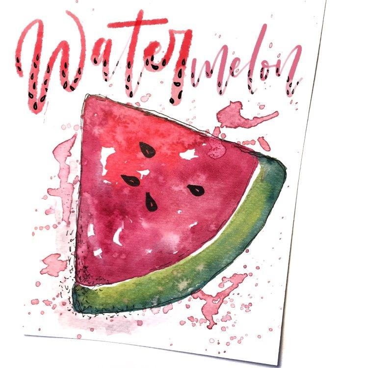 watermelon - Handlettering mit Aquarell Melone gezeichnet