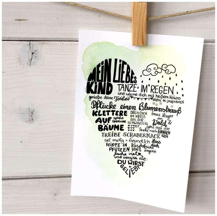 Handlettering Geschenk - mein liebes Kind... Text mit Wünschen in Herzform
