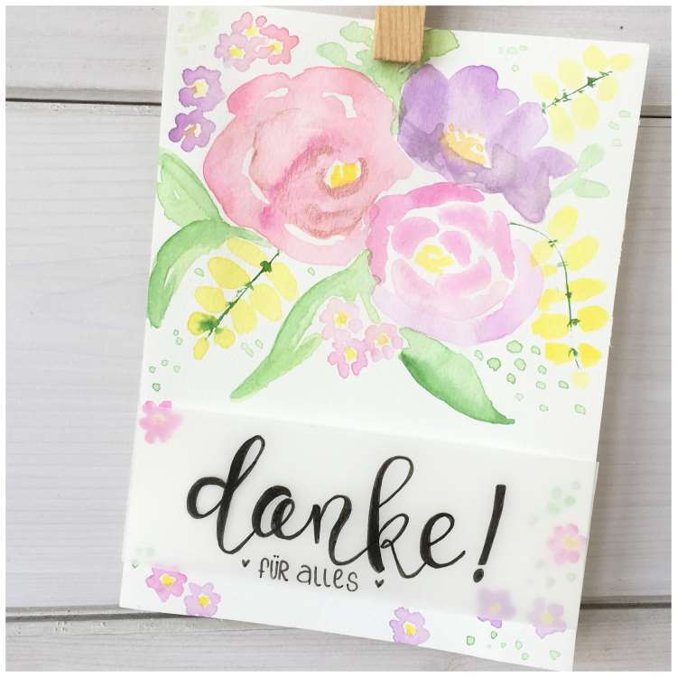danke - Karte mit Handlettering und Aquarellblumen