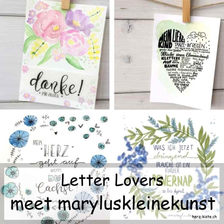 Letter Lovers maryluskleinekunst im Lettering Interview - Titelbild mit verschiedenen Letterings als Collage