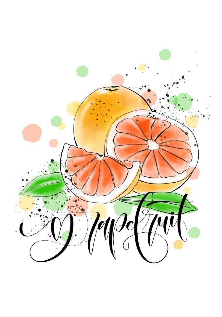 grapefruit - digitales Lettering mit gemalten Grapefruit