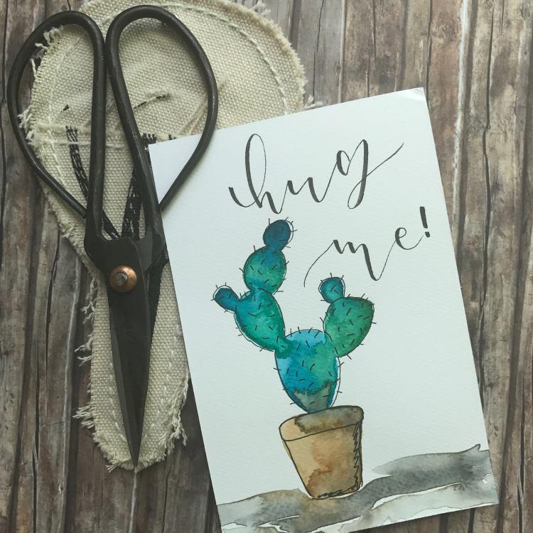 hug me - Handlettering mit Aquarell Kaktus