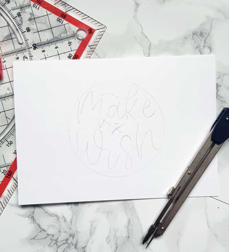 Skizze für eine Geburtstagskarte mit Brushlettering: make a wish