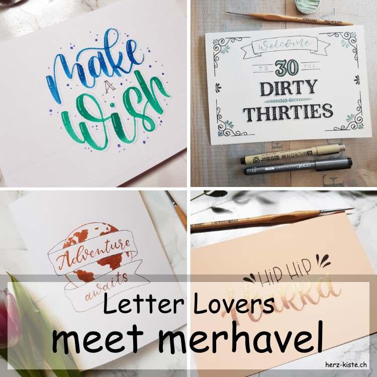 Letter Lovers - merhavel zu Gast im Lettering Interview mit einer Anleitung für eine einfache Geburtstagskarte - Titelbild
