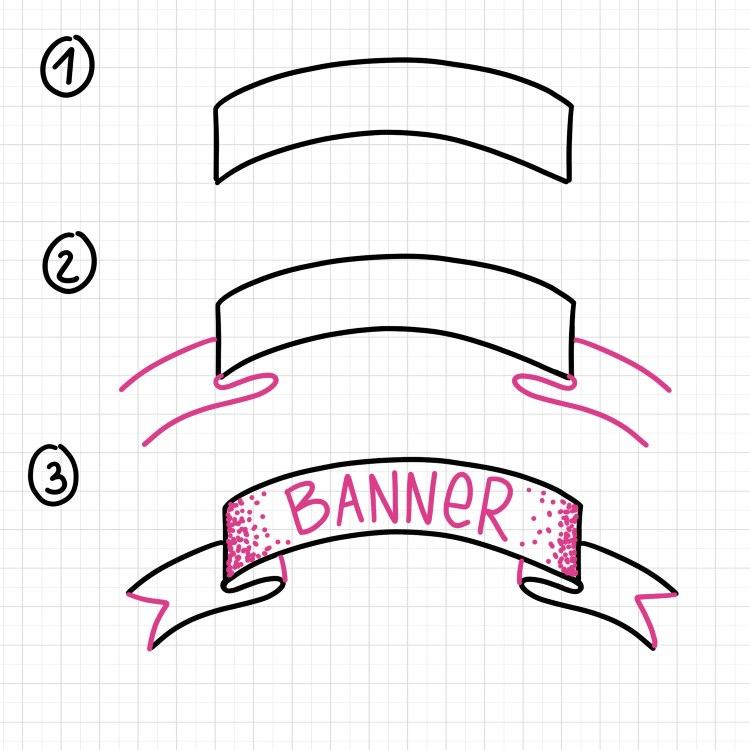 Banner nach oben gebogen - Schritt für Schritt Anleitung zum selber zeichnen