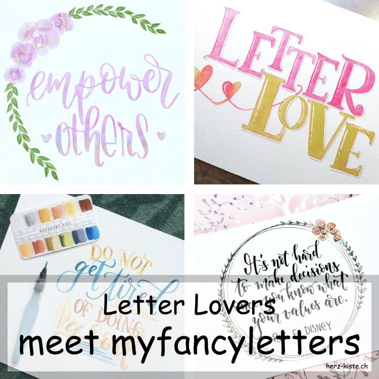 verschiedene Letterings von myfancyletters in einer Collage für das Lettering Interview bei den Letter Lovers