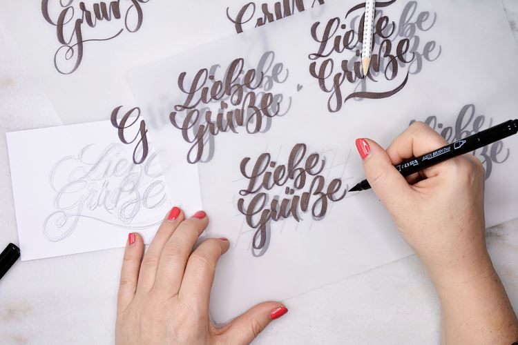 Liebe Grüsse - Skizzen von einem Lettering