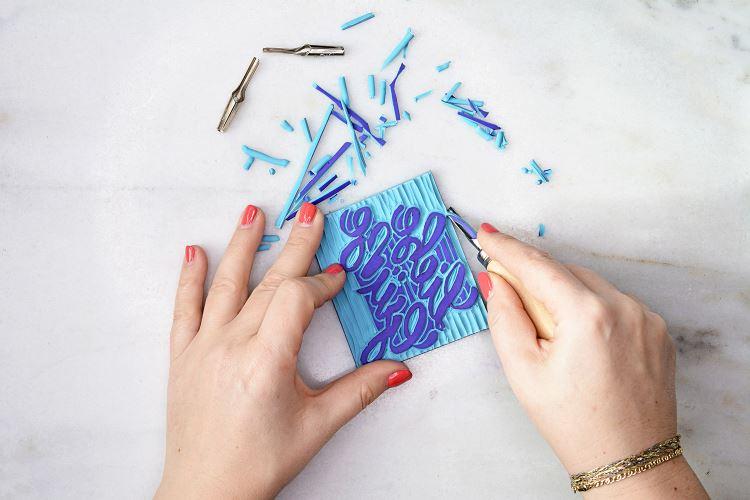 Stempel schnitzen mit Lettering