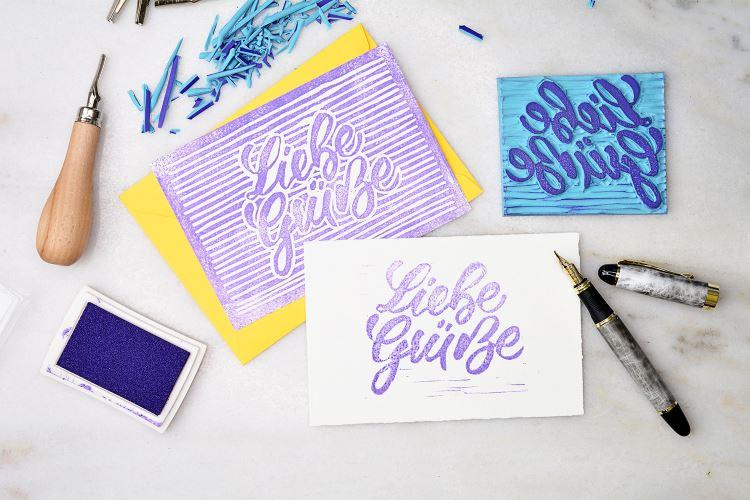 Liebe Grüsse - dein eigenes Lettering als Stempel geschnitzt