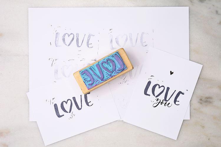 love - Lettering als Stempel