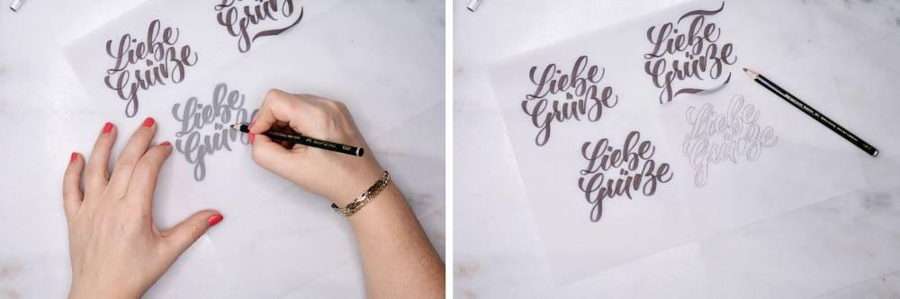 Liebe Grüsse - verschiedene Letteringskizzen