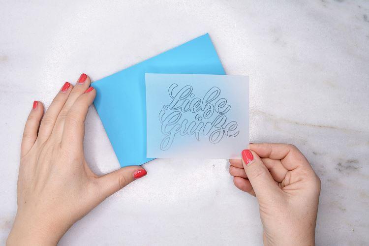 liebe grüsse - Lettering Vorlage für einen Stempel