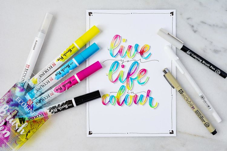 live you live in colour - buntes Handlettering