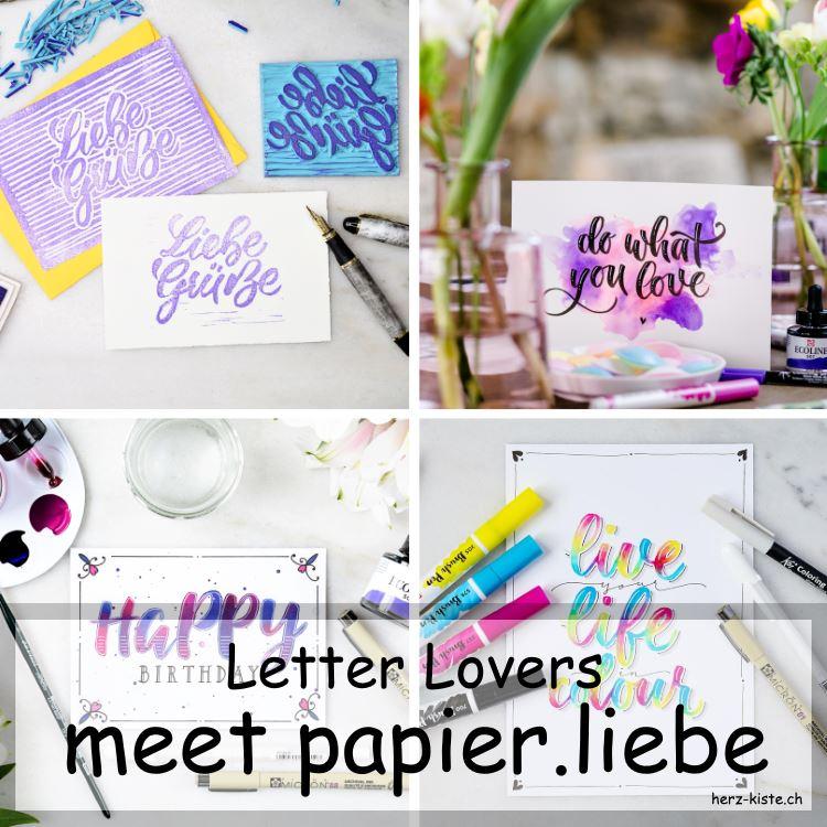 Letter Lovers - papier.liebe zu Gast im Letteirng Interview - Titelbild mit verschiedenen Letterings