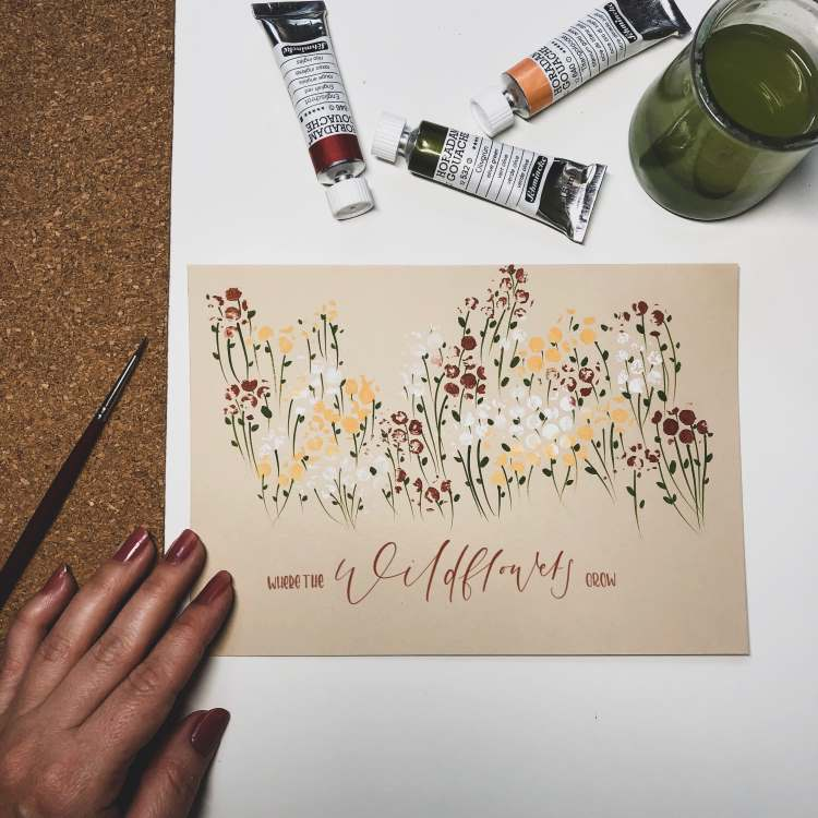 Handlettering Where the wildflowers grow - mit einer Blumenwiese aus Noppenfolie gestaltet
